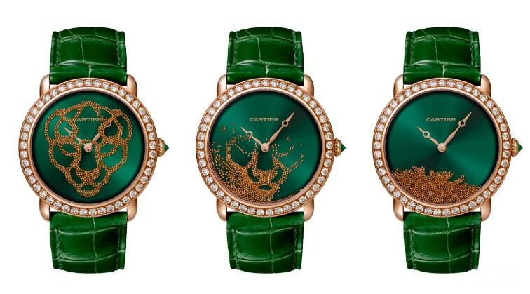 The green leather strap matches the emerald dial perfectly to show a distinctive look of vintage style.