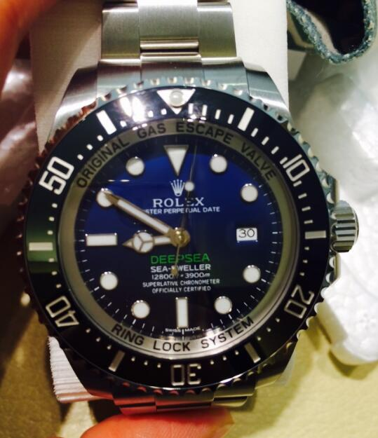 The brilliant Rolex is water resistant to a depth of 3900 meters.