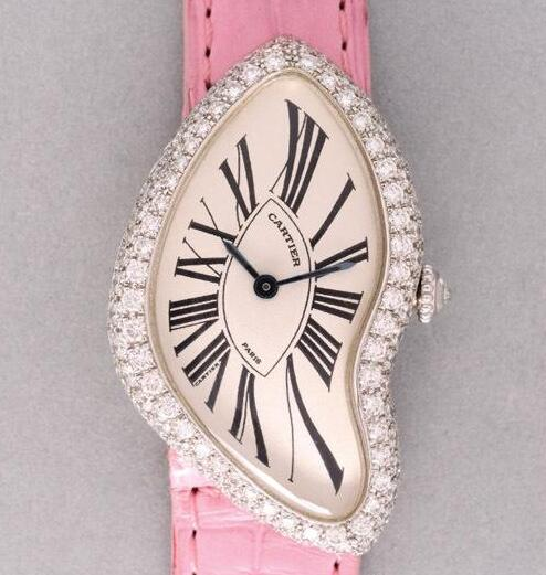The diamonds on the case and the pink leather strap will remind the wearers of the happy girlhood time.