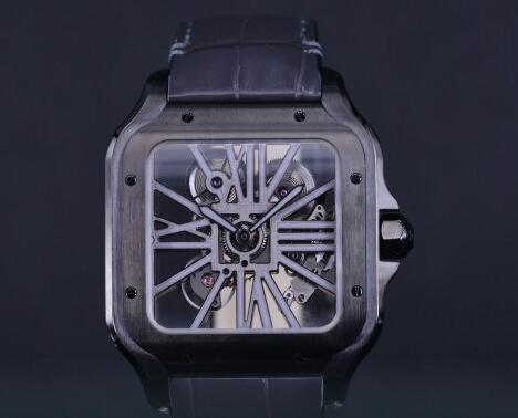 The combination of the black case with skeleton dial makes the watch very strong.