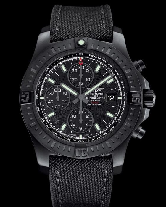 The overall design of this black Breitling is cool and bold.