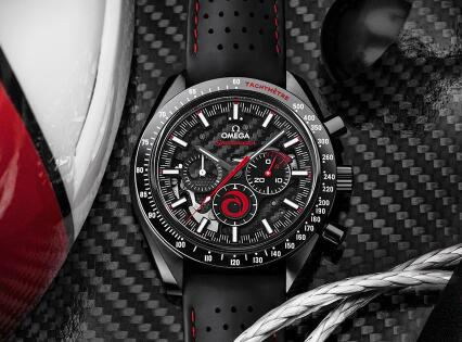 The red elements are striking on the black skeleton dial.