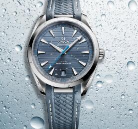 The blue second hand is contrasted to the blue dial of Swiss Omega replica.