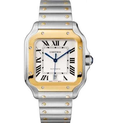 The blue steel hands and black Roman numerals hour markers are striking on the silver of fake Cartier.